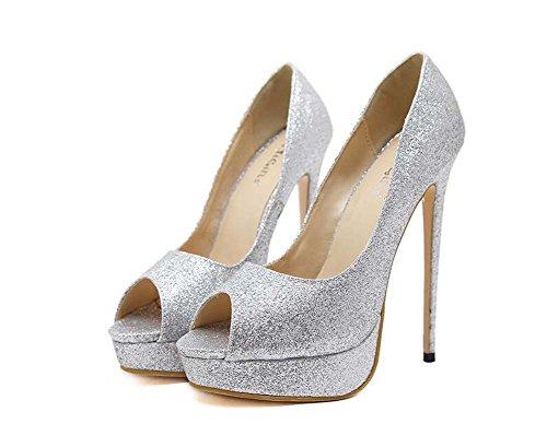 vestir Bling 15 4 boda encanto bomba Toe puro la 34 de Mujeres con zapatos partido Eu tamaño Zapatos plataforma Stiletto Peep cm color 40 de lentejuelas gruesa de Plata zapatos cm twgqY6
