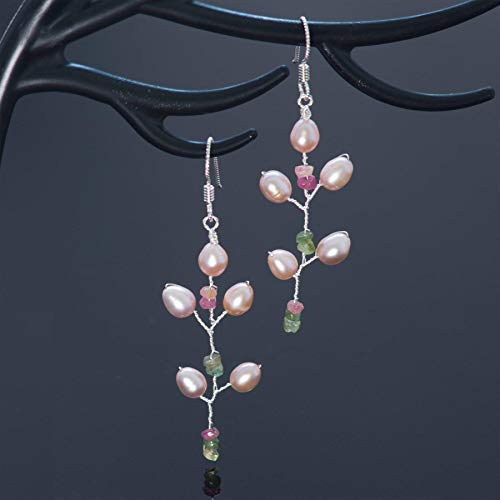 Watermelon Tourmaline Sterling Silver Pearl Long Twig Earrings Handmade Bohemian ()