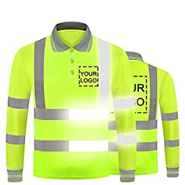 YOWESHOP Hi Vis T Shirt Reflective Safety Long Sleeve Polo Tee Customize Your Logo High Visibility Protective Workwear
