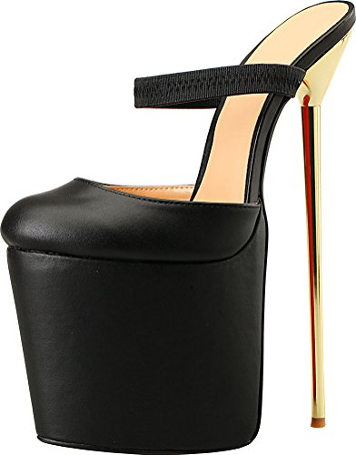 Abby Vimedea A19 Womens Mary Jane Sexy Supper High Heeled 8.7IN Nightclub Party Cross Dressing Overside US9-19 Stainless Steel Heel Platform Ankle Strap Round Toe Sling Back PU Pumps Black Uq5a8FWg
