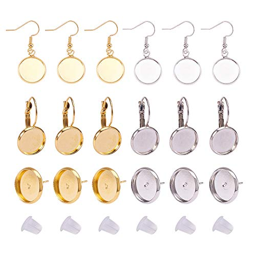 PH PandaHall 8PCS Brass Earring Wire Hooks with Blank Pendant Trays, 8PCS Lever Back Hoop, 8PCS Ear Stud Components, 30PCS Earring Earnuts