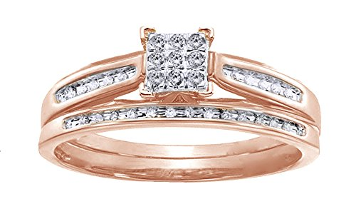 AFFY White Natural Diamond Square Center Bridal Set Ring In 10K Solid Rose Gold (Jewelry Set 10k)