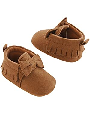 Girls' Baby Soft Sole Moccasin 0-3 Crib Shoe, Tan, 0-3 Months Regular US Infant