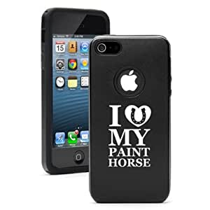 Apple iPhone 4 4s Aluminum & Silicone Case Cover I Love My Paint Horse (Black)