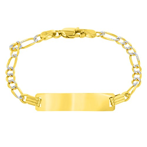 (Solid 14K Yellow Gold Two-Tone ID Bracelet with 3mm White Pave Figaro Chain Link, 5.75