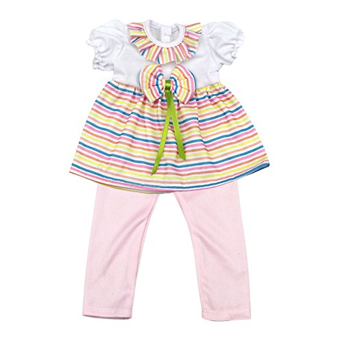[AOFUL 16 Inches Baby Doll's Clothes, Rainbow Striped Dress + Leggings Pink] (Doll Halloween Outfit)