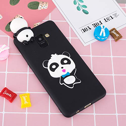 for Samsung Galaxy A8 2018 Silicone Case with Screen Protector,QFFUN 3D Cartoon [Panda] Pattern Design Soft Flexible Slim Fit Gel Rubber Cover,Shockproof Anti-Scratch Protective Case Bumper by QFFUN (Image #5)