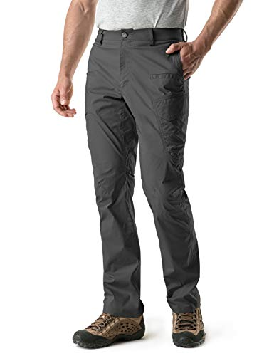 CQR Men's Outdoor Adventure Rugged Pants Hiking Camping Stretch Durable UPF 50+ Quick Dry Cargo Trousers, Outdoor(txp401) - Charcoal, 36W/32L