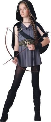 InCharacter Costumes Tween Kids Hooded Huntress Costume, Grey/Black, L (12-14) -