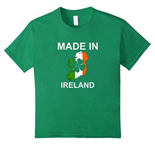Kids Made in Ireland cool t shirt with Irish Shamrock Map for all 8 Kelly Green