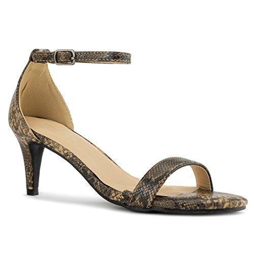 RF ROOM OF FASHION Fashion D'Orsay Ankle Strap Kitten Heel Dress Sandal - Essential Mid Heel Open Toe Vegan Pumps -Brown Snake (7)