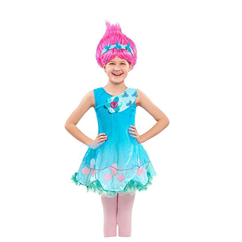 Troll Costume Uk (Trolls poppy costume dress and wig age 4-5)