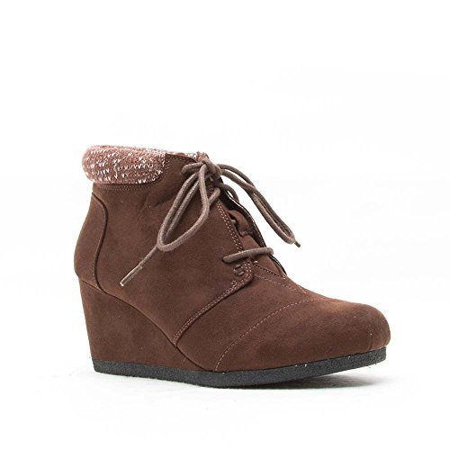 Qupid Womens Olee-15/Rex-S Lace Up Faux Leather Ankle Wedge Boots,Brown Sweater Cuff,7.5 Sweater Wedge Boot