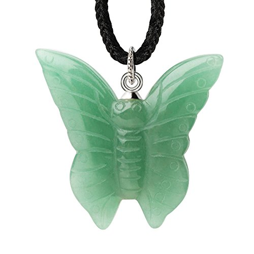 (iSTONE Natural Gemstone Green Aventurine Jade Pretty Butterfly Shape Healing Crystal Pendant Necklace Rope Chain 24)