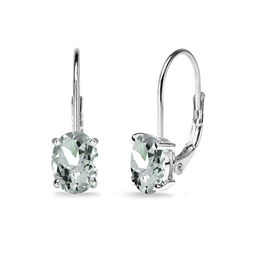 Aquamarine Oval Solitaire - Sterling Silver Light Aquamarine 7x5mm Oval Solitaire Dainty Leverback Earrings