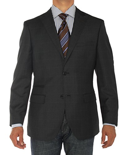 LN LUCIANO NATAZZI Mens Two Button Ticket Pocket Blazer Modern Fit Suit Jacket (48 Regular US / 58 Regular EU, Black)