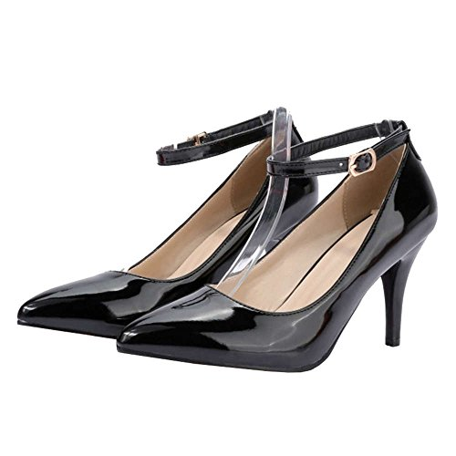 SJJH Court Shoes with Thin Heel and Pointed Toe All Macth Working Heels with Large Black WO7bAeM