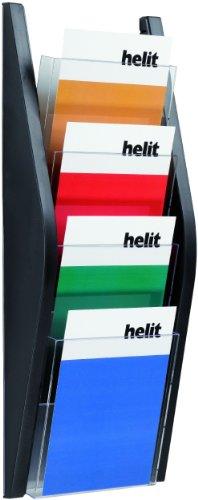 Helit H6270195 Bogendisplay mit 4 Fächer A4, glasklar/schwarz