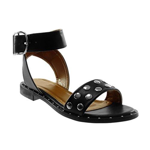 Tanga Caviglia Alla Metallico Blocco 2 Cm Cinturino A Nero Tacco Borchiati Sandali Scarpe Donna Moda Con Angkorly wRfvvq