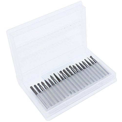 NIUPIKA 1/8'' Shank Carbide Rotary Bit Files Tungsten Steel Solid Diamond Burrs Bits Set Dremel Tool for Drilling Carving Engraving Woodworking by NIUPIKA (Image #1)