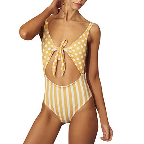 Cenglings Women Vintage Polka Dot Print One Piece Monokini Lace Up Bowknot Bikini Stripe Print Hollow Out Backless Swimsuit ()