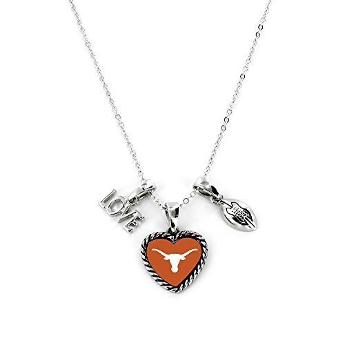 Aminco International NCAA Texas Longhorns Charmed Love Football Necklace from Aminco International