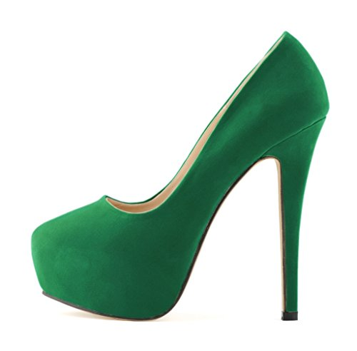 Women's Fashion Round Toe Stiletto Slip On Platform Pumps High Heels Shoes s green velveteen