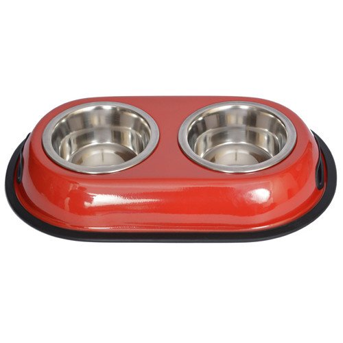 Iconic Pet Color Splash Stainless Steel Double Diner (Red) for Dog/Cat - 1/2 Pt - 8oz - 1 cup , Pet Dishes , Iconic Pet