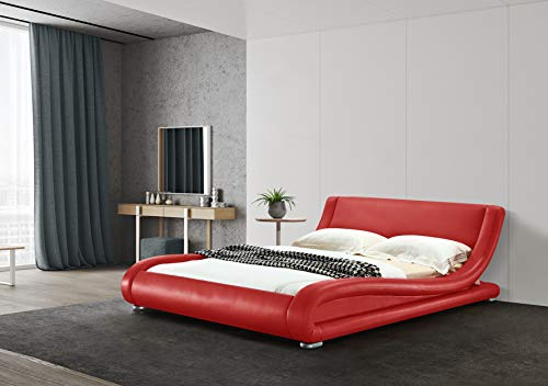 GREATIME B1070 Modern Upholstered Bed, Queen, Red