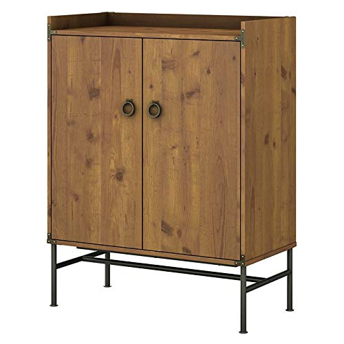 (kathy ireland Home by Bush Furniture Ironworks Bar Cabinet with Wine Storage in Vintage Golden Pine)