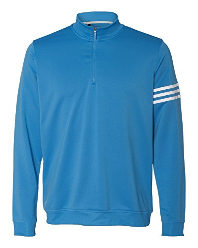 adidas A190 Mens ClimaLite 3-Stripes Pullover - Oasis & White, Medium (Adidas Terry Pullover)