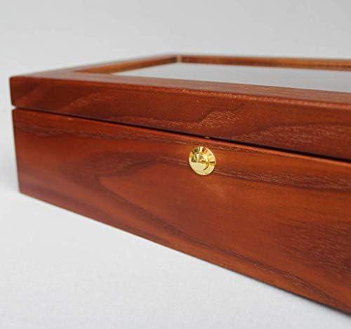 XHSBH Raffiniert und elegant Watch Box 8 Slots Hölzerne Schmuck-Uhr-Vitrine Vitrine Organizer mit Glasplatte und 8 Entfernen Lagerung Kissen