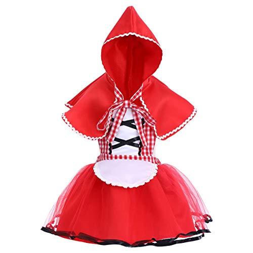Baby Girls Little Red Riding Hood Costume Halloween Cosplay Fancy Dress Up 2PCS Outfits Dress +Cape Cloak 12-18 ()