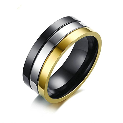 Aokarry Bands Men's Tri-Colors Stainless Steel Bands Ring Flat Comfort Fit 8mm Silver Gold Black Size 12