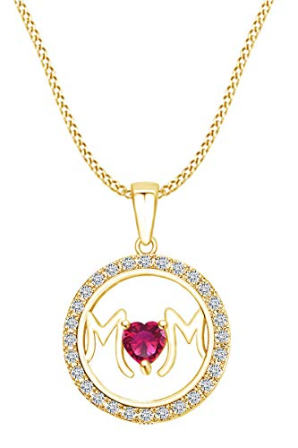 AFFY Mother's Day Jewelry Gifts Simulated Ruby & White Cubic Zirconia Circle Frame Mom Heart Pendant Necklace in 14k Yellow Gold Over Sterling Silver