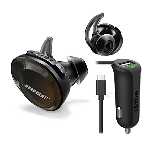 Bose SoundSport TrulyFree Wireless Headphones in Black with Iottie Mini Car Charger