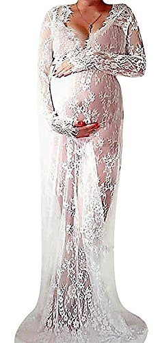 Maternity Photography Props Sexy Maternity Dress Fancy Maternity Lace Dress,White,Large