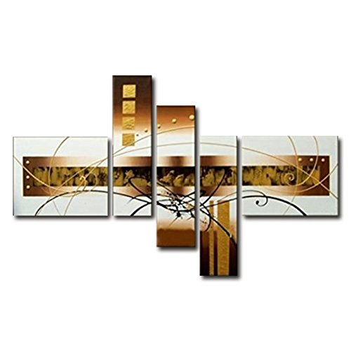 fly-spray-5-piece-100-hand-painted-oil-paintings-panel-stretched-framed-ready-hang-golden-line-squar
