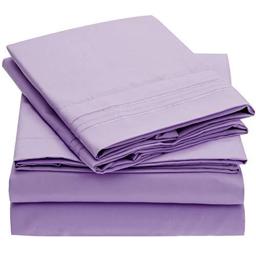 Mellanni Bed Sheet Set Brushed Microfiber 1800 Bedding Wrinkle Fade Stain Resistant Hypoallergenic 4 Piece King Violet