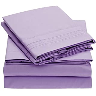 Mellanni Bed Sheet Set Brushed Microfiber 1800 Bedding - Wrinkle, Fade, Stain Resistant - Hypoallergenic - 3 Piece (Twin, Violet) (B00O35D4F6) | Amazon price tracker / tracking, Amazon price history charts, Amazon price watches, Amazon price drop alerts
