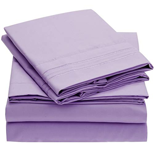 Mellanni Bed Sheet Set - Brushed Microfiber 1800 Bedding - Wrinkle, Fade, Stain Resistant - 4 Piece (King, Violet) (Jamison Pillows)