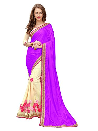 70f58be6f2fc79 Ambika Sarees Collection Women s Embroidered Purple Paper Silk Half And  Half Georgette Saree With Blouse Material