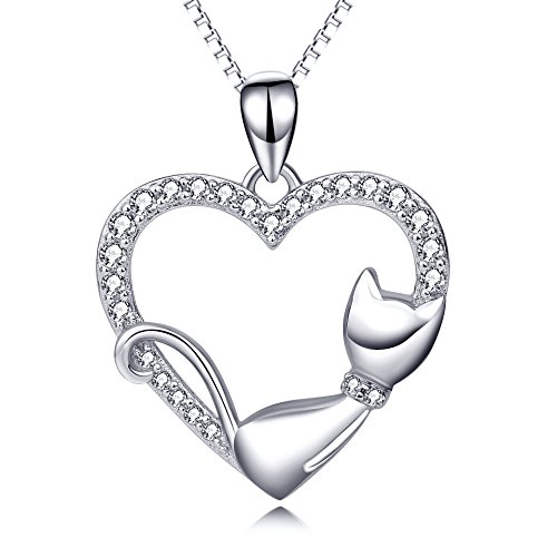 - POPLYKE Cat Necklace Sterling Silver Sleeping Cat Heart Pendant Necklace Gift for Women Girls