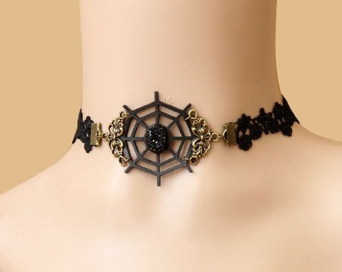 Black Spider Web Choker (Jewelry 4 Lady New Arrival!! Gothic Style Black Lace Choker Necklace with Faux Leather Spider Web Costume Jewelry(approx)