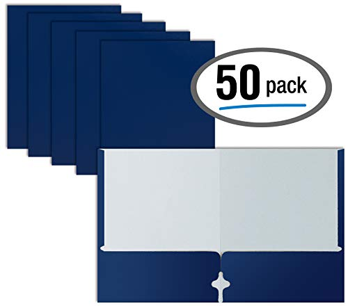 Two Pocket Portfolio Folders, 50-Pack, Blue, Letter Size Paper Folders, by Better Office Products, 50 Pieces, Blue ()