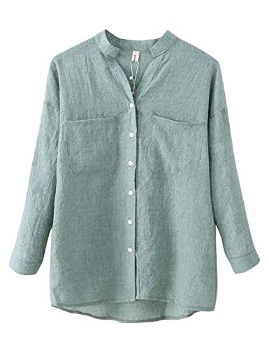 - Lentta Women's Long Roll Up Sleeves Button Down V Neck Thin Summer Linen Shirts (Small, Green)