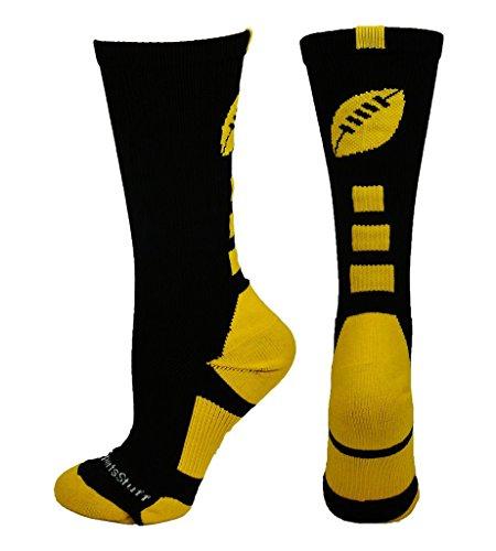 11 Team Logo Socks - MadSportsStuff Football Logo Crew Socks, Small, Black/Gold