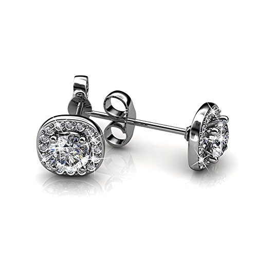 Cate-Chloe-Ruth-18k-White-Gold-Plated-Halo-Studs-with-Swarovski-Stones-Best-Silver-Earrings-for-Women-Beautiful-Trendy-Silver-Stud-Earring-Set-Solitaire-Earrings-with-Swarovski-Crystals