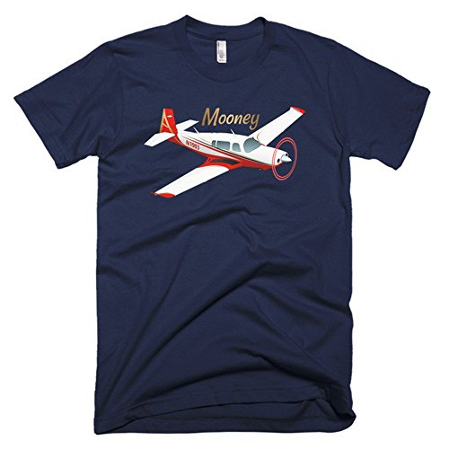 Mooney (Red) Custom Airplane T-shirt - Personalized with Your N# Navy / XL - Mooney Airplane