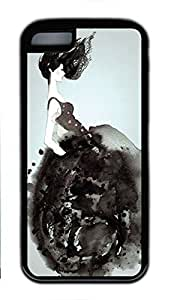 Soft Case Shell for iPhone 5C Covered with Watercolor Fashion Lady,Customized Black TPU Cover Skin for iPhone 5C